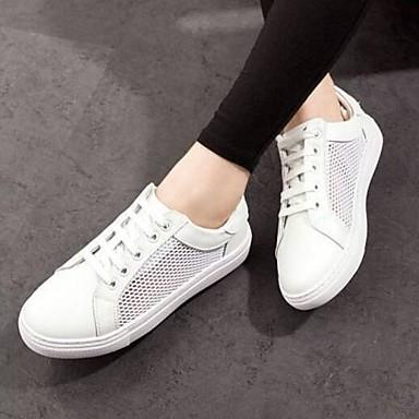 Talon Eté Chaussures rond Printemps Basket Cuir Femme Bout Nappa 06795841 Blanc Confort Plat wqI0Wdv