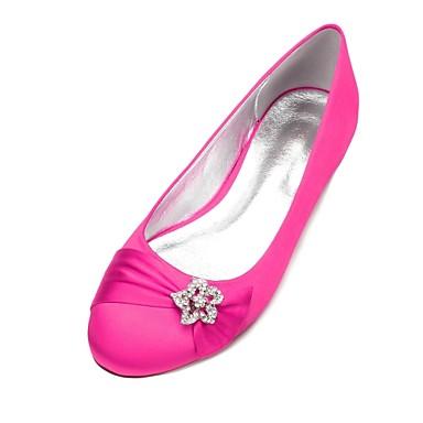 Χαμηλού Κόστους Γυναικεία παπούτσια γάμου-Γυναικεία Γαμήλια παπούτσια Επίπεδο Τακούνι Στρογγυλή Μύτη Τεχνητό διαμάντι / Σατέν Λουλούδι / Αστραφτερό Γκλίτερ Σατέν Ανατομικό / Μπαλαρίνα Ανοιξη καλοκαίρι Μπλε / Ανοικτό Καφέ / Κρύσταλλο / Γάμου