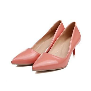 Cuero Rosa Pump Básico Zapatos Otoño Tacones Tacón Nudo Mujer Stiletto Patentado 06840685 Rojo pRw5qwv
