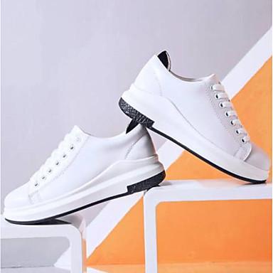 Žene Cipele Mekana koža Ljeto Udobne cipele Sneakers Ravna potpetica Zatvorena Toe Obala / Crn