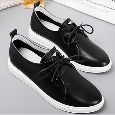 Printemps Eté Blanc Oxfords Noir Femme 06832686 fermé Plat Cuir Confort Nappa Bout Chaussures Talon gwxRF4tq