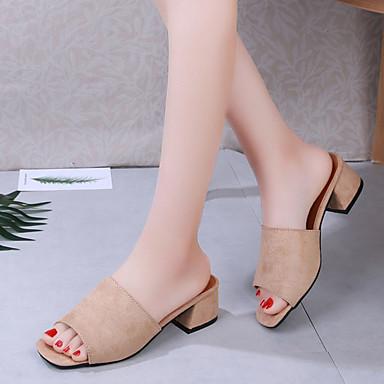 cuadrada Beige PU Mujer Dedo 06779256 Rosa Bajo Zapatos Tacón Negro Descubierto Verano Talón Sandalias ZqzBFqw
