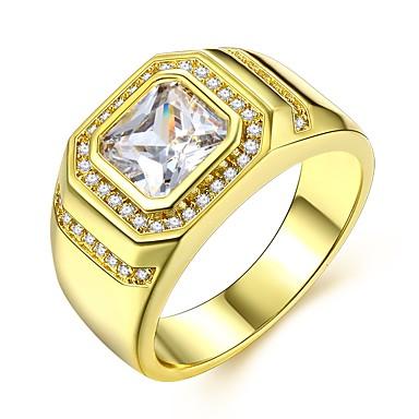 voordelige Heren Ring-Heren Stijlvol patiencespel Radiant Cut Ring Gesimuleerde diamant Kostbaar Luxe Klassiek Modieus Dubai regenboogkleurig Modieuze ringen Sieraden Goud Voor Bruiloft Carnaval Maskerade Verlovingsfeest