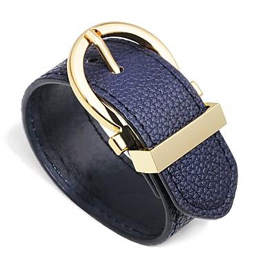 baratos Bangle-Mulheres Pulseiras de couro Pulseira larga Fashion Criativo senhoras Simples Fashion Pele Pulseira de jóias Amarelo / Marron / Vermelho Escuro Para Presente Aniversário