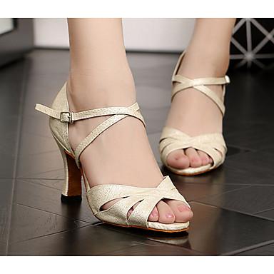 baratos Shall We® Sapatos de Dança-Mulheres Couro Ecológico Sapatos de Dança Latina Salto Salto Grosso Bege / Espetáculo / Ensaio / Prática