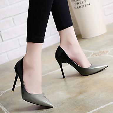 Tacones Zapatos Dedo PU Stiletto Mujer Rojo Verano Básico 06778266 Tacón Pump Puntiagudo Gris RFTgqX