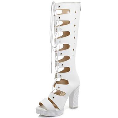 Evénement Polyuréthane ouvert Femme Gladiateur Soirée Chaussures Bout amp; Blanc Printemps Talon été Sandales Noir 06840015 Bottier Bottes Zzq4wnz5U