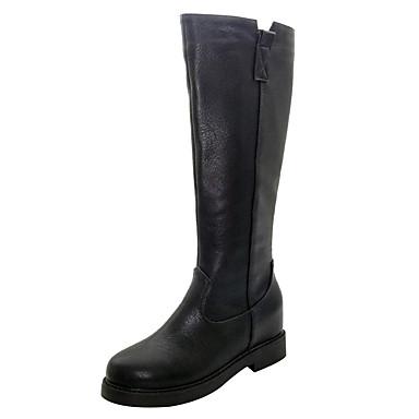 Žene Cipele PU Jesen Udobne cipele / Modne čizme Čizme Blok pete Okrugli Toe Čizme do koljena Crn / Braon