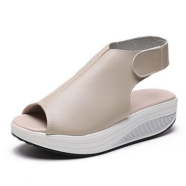 Žene Cipele PU Ljeto Udobne cipele Sandale Creepersice Peep Toe Bež / Braon / Crvena