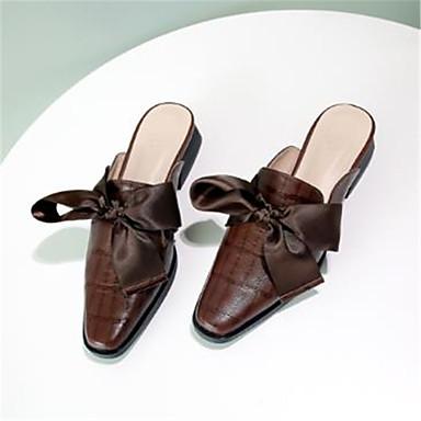 Noeud amp; Confort Talon Cuir 06785653 pointu Noir Café Bottier Mules Sabot Femme Printemps Chaussures Bout été Yx7wIqaH