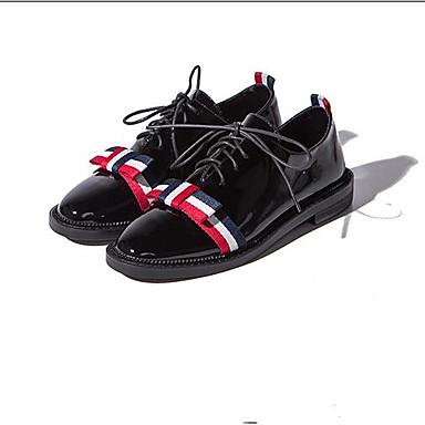 Noir Talon Chaussures Eté 06833452 Cuir Bout Blanc Oxfords Confort Printemps fermé Plat Nappa Femme 7SCT0xww