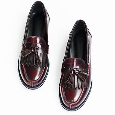 9b4c941989a Women s Nappa Leather Spring   Fall Comfort Loafers   Slip-Ons Low Heel  Round Toe Tassel Black   Wine