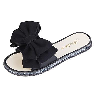 Žene Cipele PU Ljeto Udobne cipele Papuče i japanke Ravna potpetica Okrugli Toe Mašnica Crn / Bež
