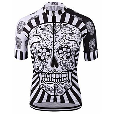Malciklo Muškarci Kratki rukav Biciklistička majica - Red / White / Crno bijela  / Lubanje Bicikl Biciklistička majica, Quick dry, Anatomski dizajn, Prozračnost Lubanje