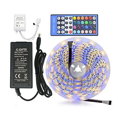 abordables Bandes Lumineuses LED-ZDM® 5m Ensemble de Luminaires 60 LED 5050 SMD 1 câble CA / Contrôleur de clé 1 x 40 / Alimentation 1 X 12V 3A RVB + chaud / RGB + Blanc Imperméable / Découpable / Design nouveau 12 V 1 set