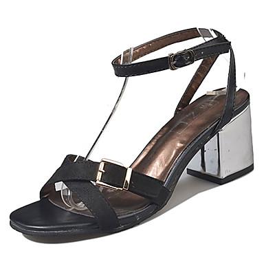 7dead271c3660c Women s PU(Polyurethane) Summer Ankle Strap Sandals Block Heel Open Toe  Black   Khaki