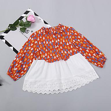 baratos Vestidos para Meninas-Infantil Bébé Para Meninas Básico Moda de Rua Diário Feriado Plantas Estampado Manga Longa Altura dos Joelhos Acima do Joelho Vestido Laranja / Algodão