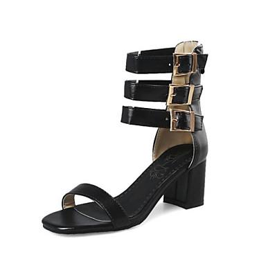 ouvert Talon Bottier Noir Polyuréthane Femme Eté Sandales Chaussures Bleu Rouge Boucle Confort 06818498 Bout qUxY8wX