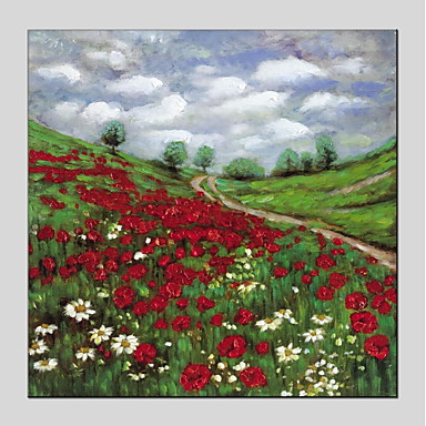 Hang oslikana uljanim bojama Ručno oslikana - Cvjetni / Botanički Moderna Uključi Unutarnji okvir / Prošireni platno
