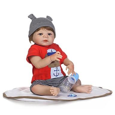 NPKCOLLECTION MUÑECA NPK Muñecas reborn Bebés Niños 24 pulgada Cuerpo completo de silicona Vinilo - Bonito Nuevo diseño Implantación artificial Ojos azules Kid de Chico / Chica Juguet Regalo