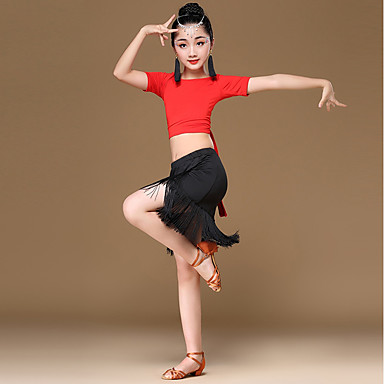 2efc43a84 Latin Dance Outfits Girls  Performance Milk Fiber   Ice Silk Pattern ...