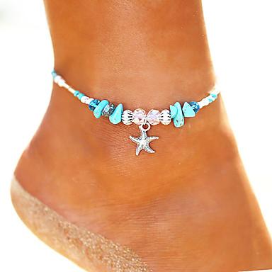 voordelige Dames Sieraden-Dames Turkoois Enkelring Enkelband voeten sieraden kralen Yoga Zeester Dames Vintage Bohémien Modieus Enkelring Sieraden Zilver Voor Feestdagen Bikini