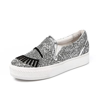 et D6148 synthétique Femme Confort Argent Matière Chaussons Chaussures 06795430 Mocassins Creepers Automne WBB8YFxrq