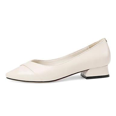 Talons Printemps Basique Chaussures Noir Escarpin Confort Automne 06811128 Beige Nappa Chaussures Cuir Block Heel Femme à t0ndwvqv