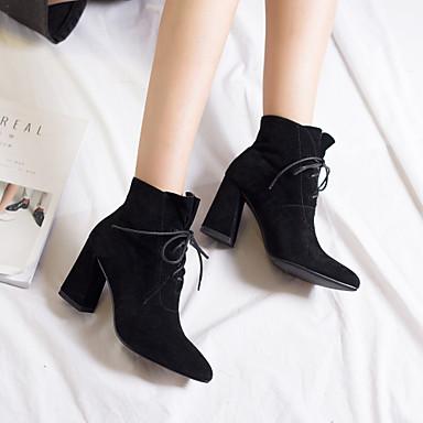 Brun Botillons Chaussures Polyuréthane Talon Femme Marche hiver Noir Foncé Bout 06832902 Automne pointu Bottier mollet Bottes Mi Bottes wg1WHq