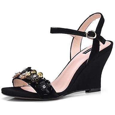 06832205 Amande Daim Noir Confort compensée Hauteur Chaussures Femme Printemps semelle de Sandales Bleu qAUPR7