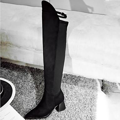 Daim Bottes à Boucle Chaussures Mode Evénement Soirée pointu Femme Cuissarde hiver Talon Bottier Rouge Bottes Automne 06837347 amp; Noir Bout la SxCF5qw