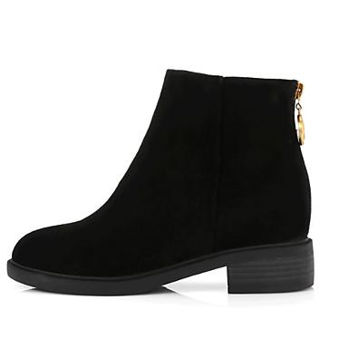 boîtes Heel Demi Noir rond fluff Chaussures Bout Femme Bottes Combat Bottine de Botte 06827670 Automne hiver Cuir Doublure Block wpnPfIq