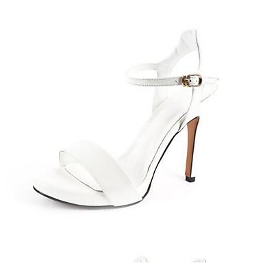 Noir mouton Femme Eté Sandales Bleu Chaussures Aiguille Talon 06797435 de Peau Blanc Confort qqTvRtw