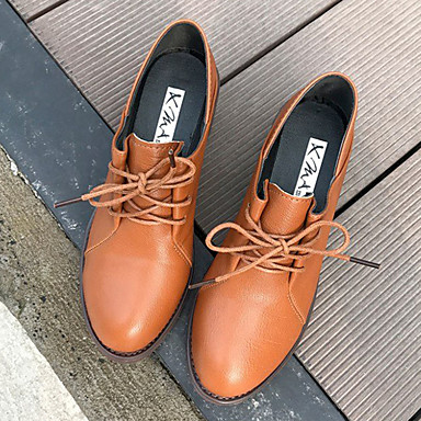 PU Mujer Oxfords Tacón Negro Beige Dedo Confort Otoño Zapatos 06837479 redondo Cuadrado Caqui 55IxwFOrAq