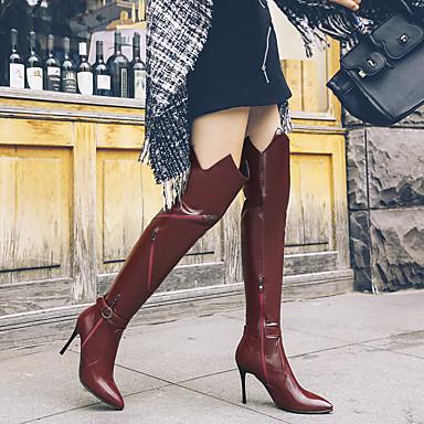 Vin Cuissarde la Bout Mode pointu à Aiguille hiver Evénement Bottes Polyuréthane Noir Talon Soirée Bottes Femme Chaussures Automne 06833405 Boucle amp; YOaxaqS