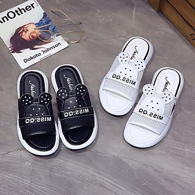 Blanco PU Mujer Zapatos Plano Negro Descubierto 06837013 flops Tacón Talón Verano y Zapatillas flip P5Pdwrvq