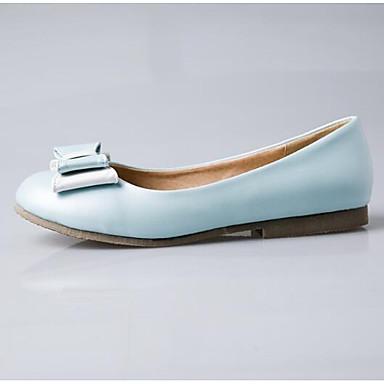 Primavera Plano Verano Mujer PU Bailarinas 06840245 Claro Confort Blanco Azul Tacón cerrada Zapatos Punta Rosa gfq0U0wxE
