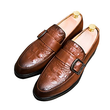 Men's & PU(Polyurethane) Fall Comfort Loafers & Men's Slip-Ons Black / Brown / Red d5957a