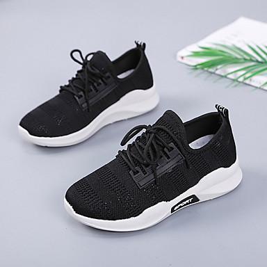 Blanco 06832687 Negro redondo de Malla Confort Tacón Atletismo Zapatillas Verano Zapatos Mujer Dedo Plano wfOqUP1