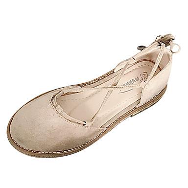 Žene Cipele PU Ljeto Remen oko gležnja Ravne cipele Ravna potpetica Okrugli Toe Ukrasna trakica Crn / Badem