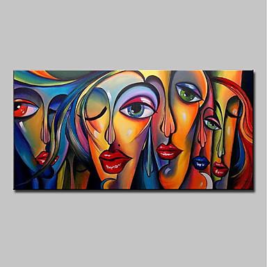 povoljno Dom i vrt-Hang oslikana uljanim bojama Ručno oslikana - Ljudi Pop art Moderna Bez unutrašnje Frame / Valjani platno