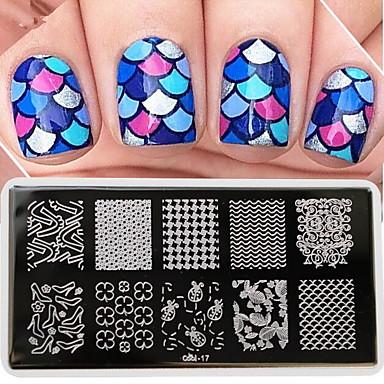 1 pcs Estampado de placa Modelo Diseños de Moda arte de uñas Manicura pedicura Elegante / Moda Diario / Placa de estampado / Metal