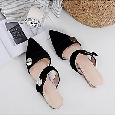 Chaussures fermé Femme Eté amp; Bleu Sabot Talon Plat Cuir Mules Daim Confort Bout Noir 06799672 1qqxgwBd