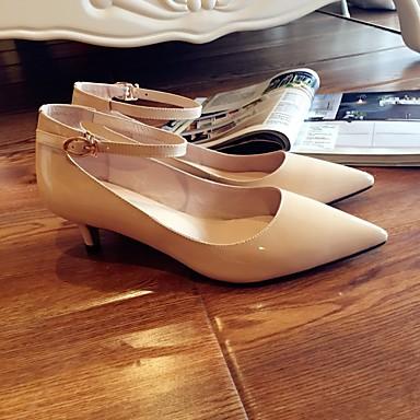 Femme Amande Aiguille Verni Chaussures Chaussures Talon Rose Talons Escarpin Eté Cuir Basique à Noir 06834812 AwOrA
