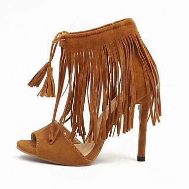 06791593 Arrière Bride Matière Eté synthétique Chaussures Talon Sandales Bout A Noir ouvert Femme Gland Marron Aiguille xqYXZAH