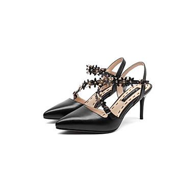 Žene Mekana koža Ljeto Udobne cipele / Obične salonke Sandale Stiletto potpetica Crn / Bež