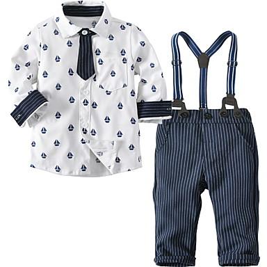 billige Sett med Drenge babyklær-Baby Drenge Basale Daglig Trykt mønster Trykt mønster Langærmet Normal Bomuld Tøjsæt Hvid