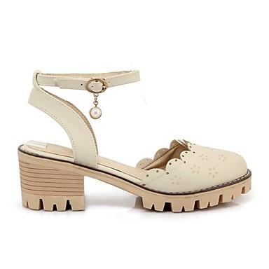 Zapatos PU 06781944 redondo Blanco bloque Dedo el de Beige en Mujer verano Sandalias Tobillo Primavera Tira Talón Rosa F4R5FqTwd
