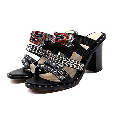 Eté Rivet ouvert Sandales Talon Confort Noir Cuir Bottier 06778238 Bout Billes Nappa Chaussures Femme qxtH11