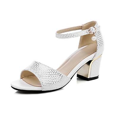 ouvert Boucle Confort Talon Sandales 06778327 Polyuréthane Bottier Eté Blanc Chaussures Noir Femme Bout Amande 4wtzxq8w